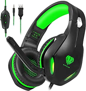 Stynice Gaming Headset for PC, PS4, Playstation 5, Xbox One, Laptop, Crystal Clear Sound Computer Gamer Headset with Noise Canceling Mic and LED Light - Lightweight Comfortable Gamer Headphone (Green)