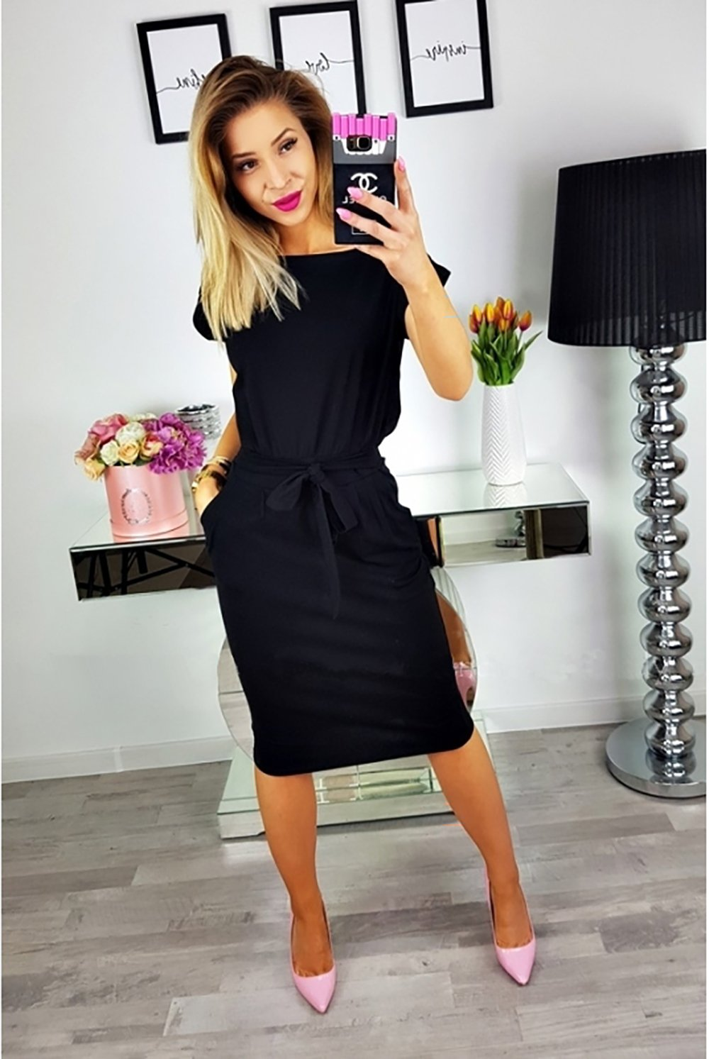 PRETTYGARDEN-Womens-2019-Casual-Short-Sleeve-Party-Bodycon-Sheath-Belted-Dress-with-Pockets