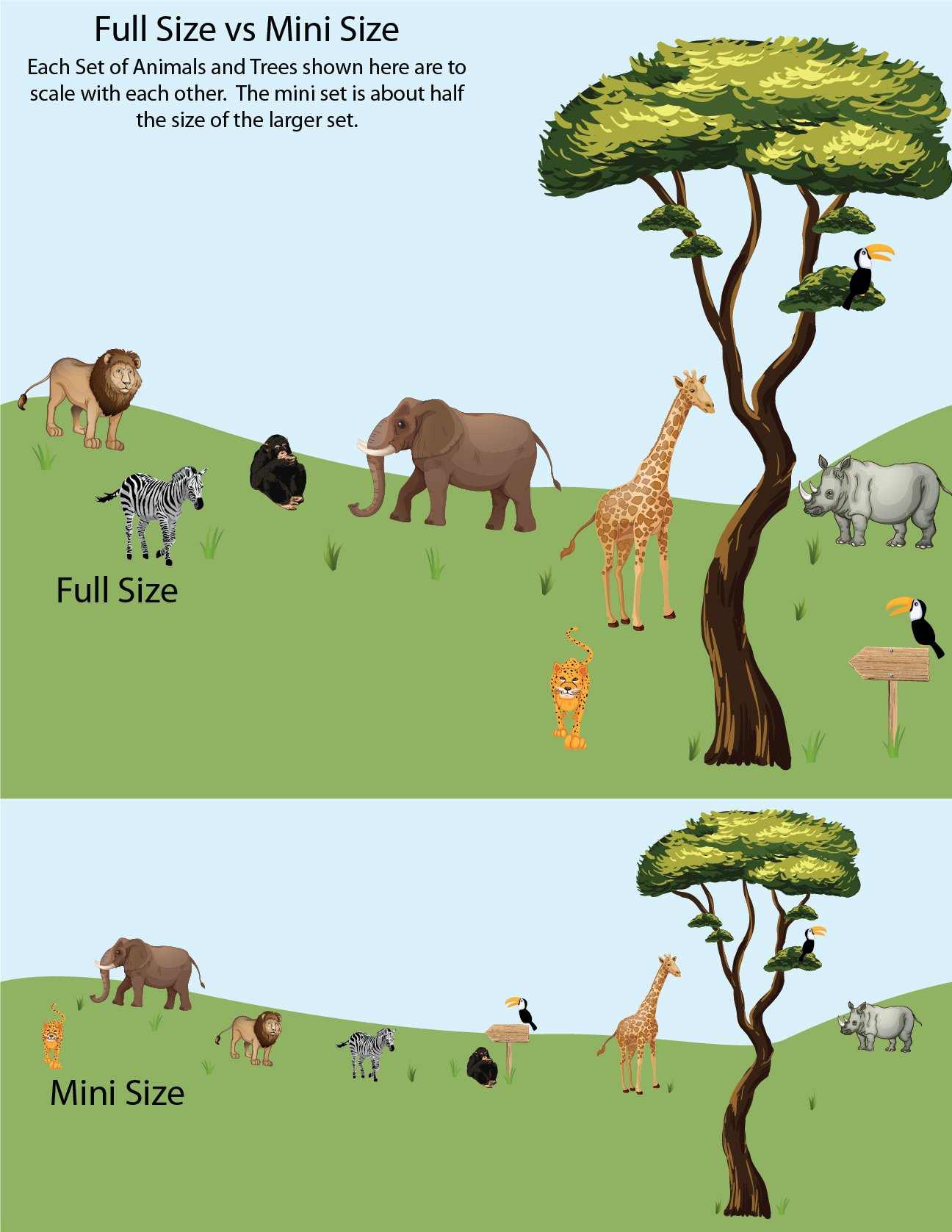 Jungle Tree Wall Decals, Jungle Stickers, Lion Decals, Drawn Jungle Animals Decal by Nursery Decals and More (Image #4)