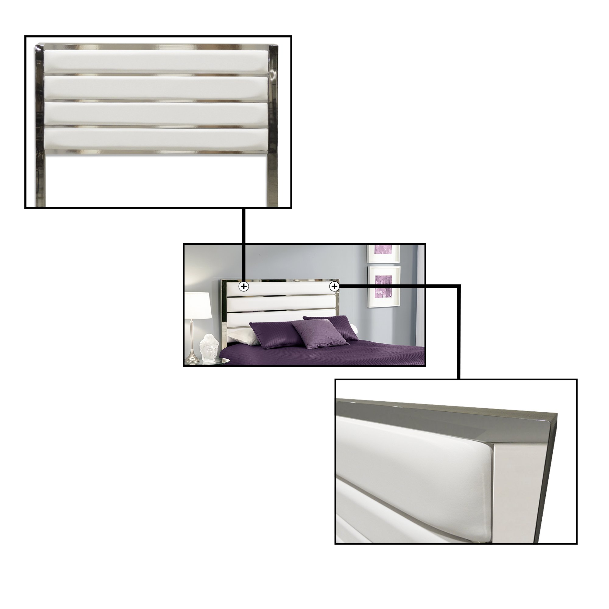 Fashion Bed Group B72526 Impulse Metal Headboard Panel with White Upholstery, Chrome Finish, King by Fashion Bed Group (Image #2)