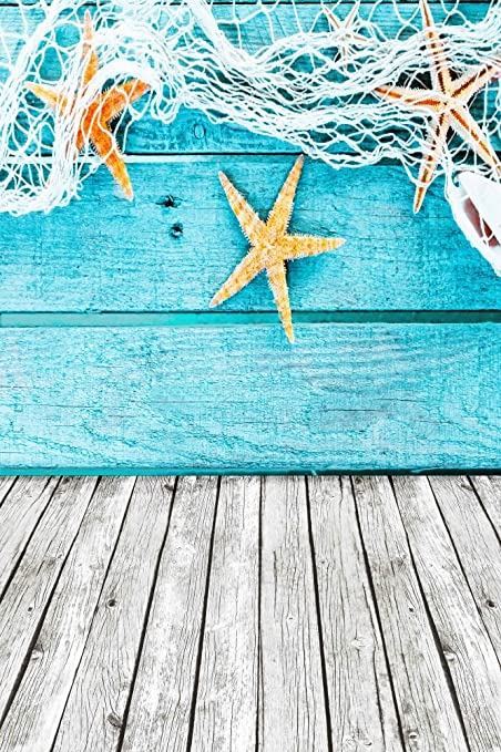 6385dc870c AOFOTO 3x5ft Nautical Style Backdrops Baby Mariner Photography Studio  Background Seafaring Starfish Deck Fishing Nets Wooden
