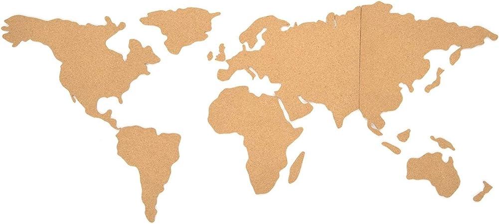 Pizarra de corcho decorativa en forma de mapamundi para notas y ...