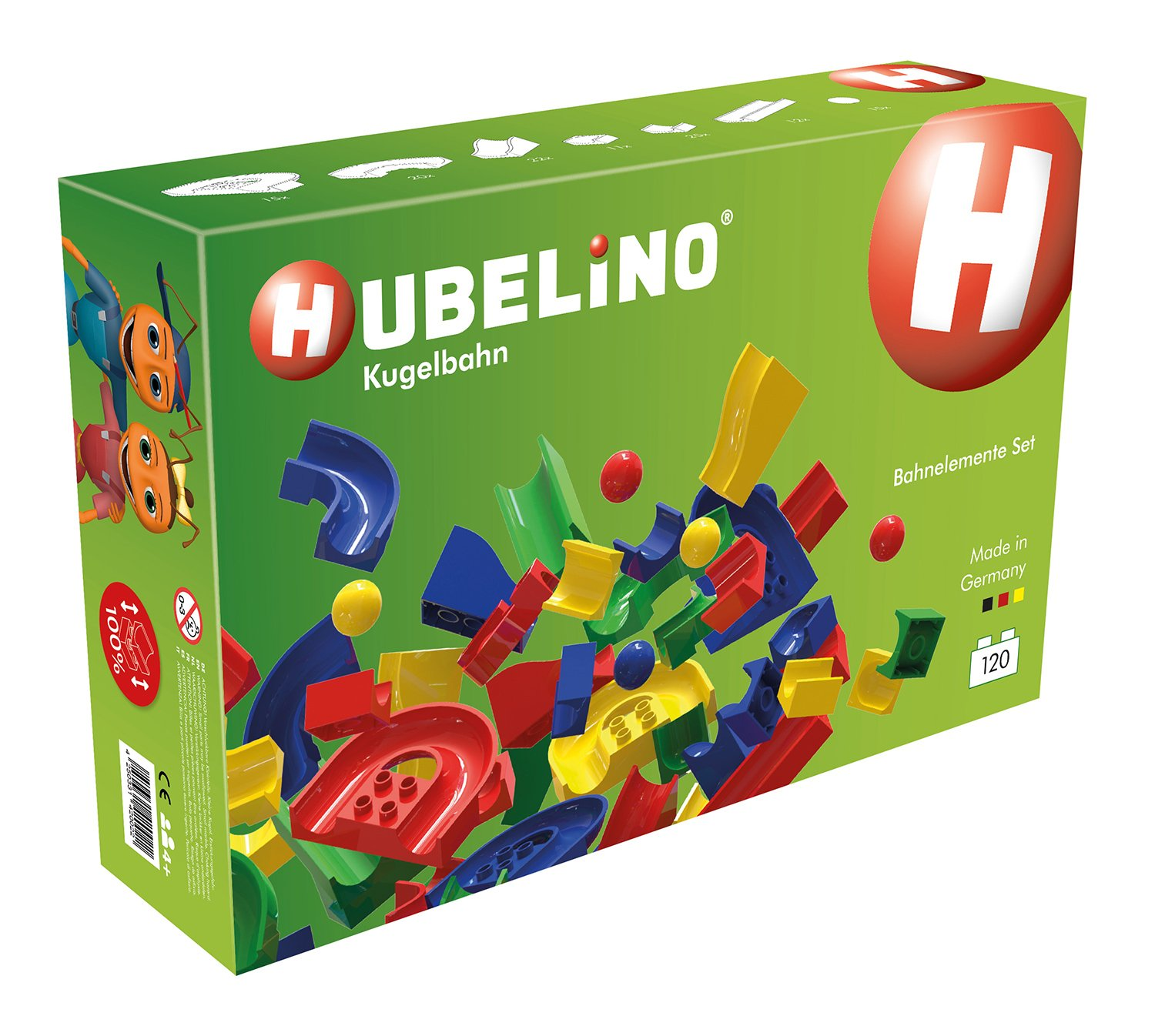 HUBELINO Marble Run - 120-Piece Run Elements Expansion Set - the Original! Made in Germany! - Certified and Award-Winning Marble Run - 100% compatible with Duplo