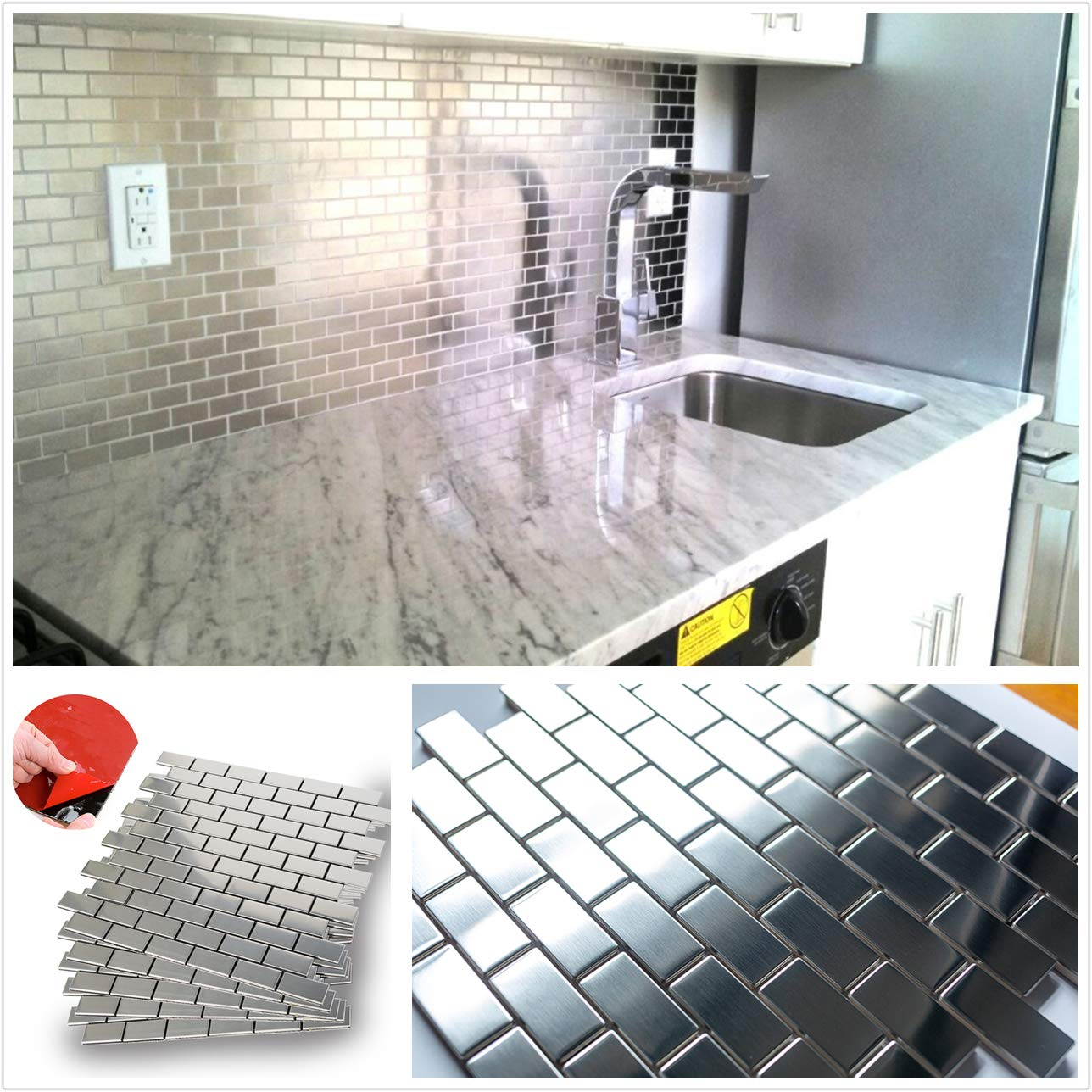 HomeyStyle Subway Stainless Steel Peel and Stick Tile Backsplash for Kitchen Bathroom Stove Self-Adhesive Metal Mosaic Tiles Wall Decor Sticker,5 Tiles x 12''x12''