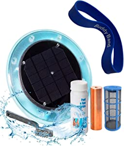 Original Solar Pool Ionizer | 85% Less Chlorine | Lifetime Replacement Warranty | Kill Algae in Pool | High efficiency | Keeps Pool Cleaner and Clear | Clarifier | Free Buddy Band | Up To 35,000 Gal
