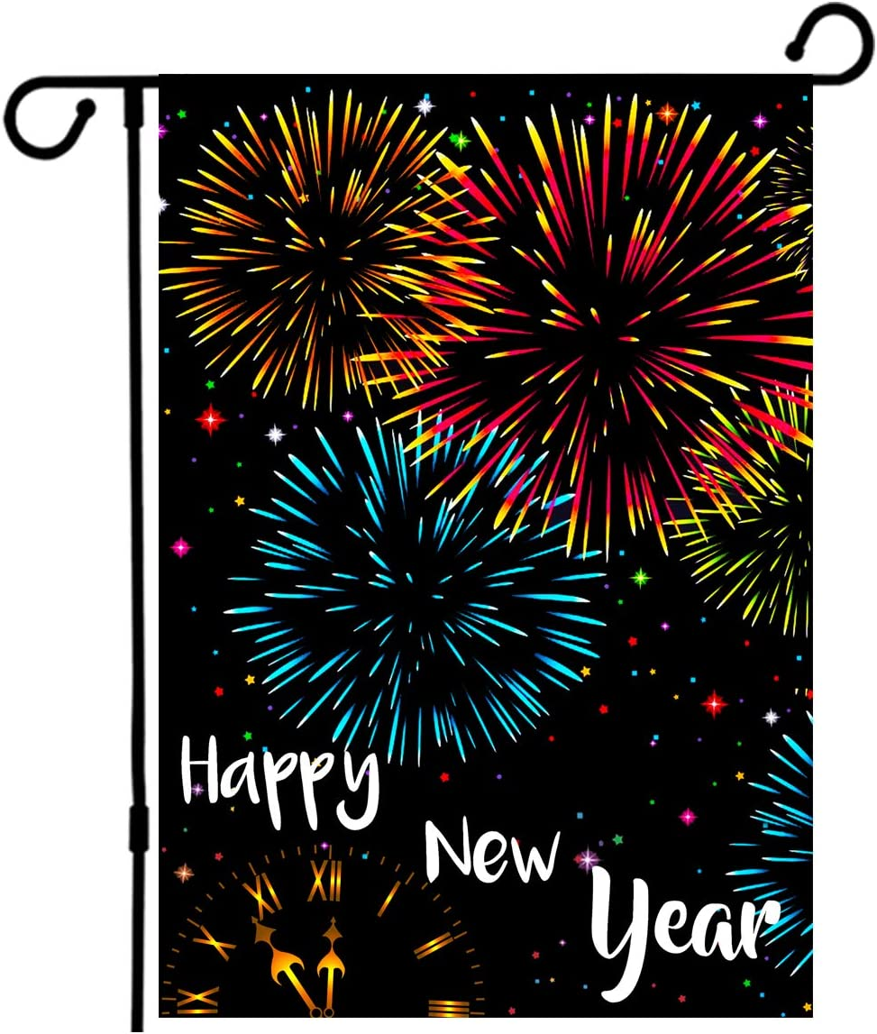 Happy New Year Welcome Garden Flag, Cute Cat Fireworks Party Small House Flag Burlap 12.5 x 18 Inch Double-sided Vertical Indoor Outdoor Banner Holiday Decor