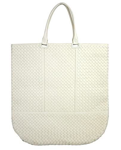 301adc3eecf0 Image Unavailable. Image not available for. Color  Bottega Veneta Woven  White Leather Large Tote ...