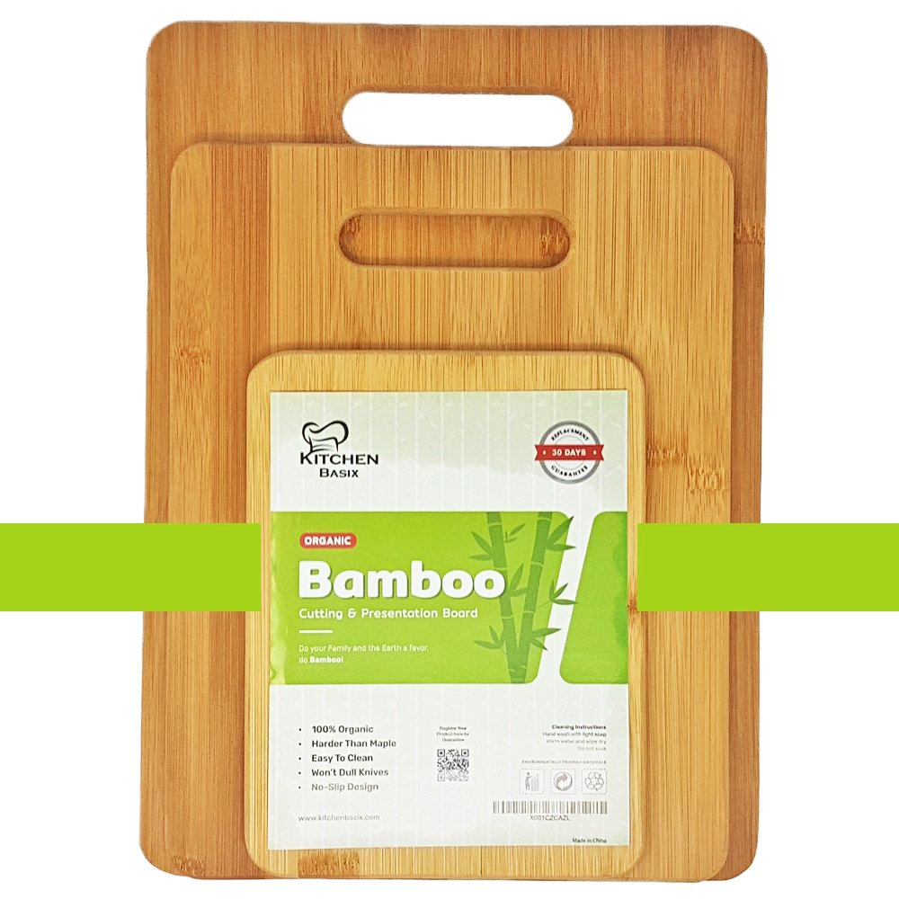 Bamboo Cutting Board 3 Piece Set, Made From Premium 100% Organic And Safe Antibacterial Wood, Newest Non-Stick Design, FDA Approved And BPA Free Kitchen Chopper Reversible Stand. Kitchen Basix by Kitchen Basix (Image #7)