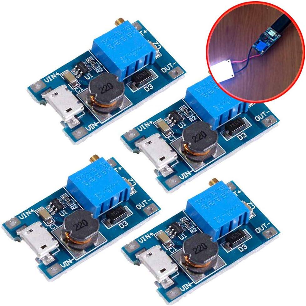 perfk 1 Pi/èce MT3608 DC R/égulateur De Tension Step Up Boost Convertisseur Alimentation Module dalimentation 2V-24V /À 5V-28V 2A