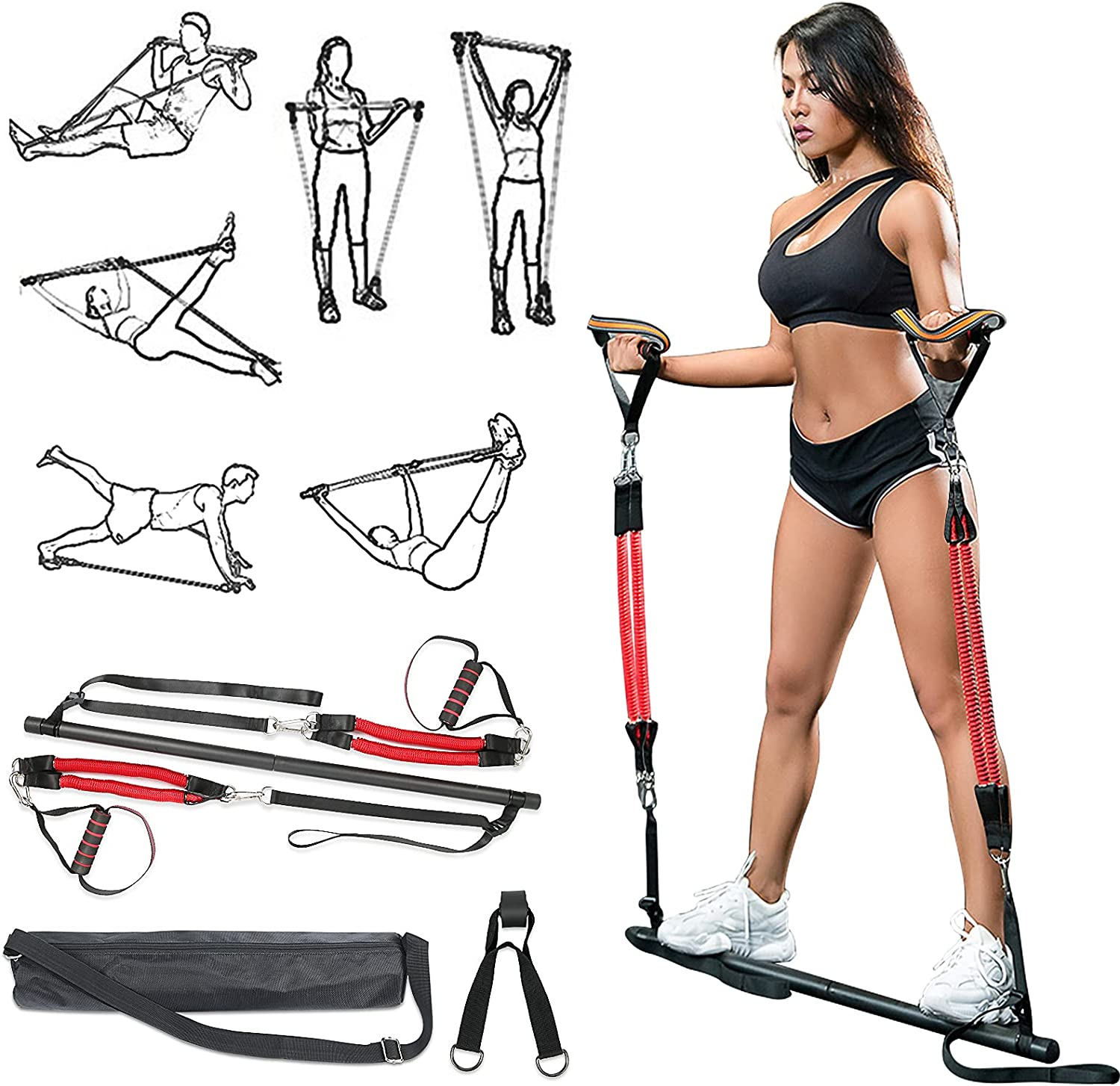 MODEREVE 60-180LBS Pilates Bar Kit with Resistance Bands, Home Squat Bar for Men & Women All-in-one Gym Workout for Full Body Fitness with Portable Bag & Door Anchor