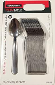 Tramontina Pro Line Commercial Grade Stainless Steel Oval Soup Spoon, Windsor Pattern (36 pieces)