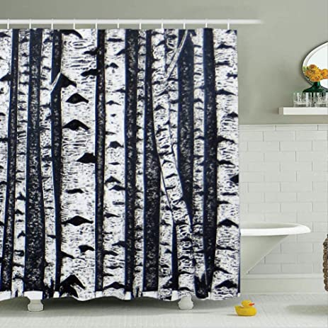 MariamMcKinley White Birch Shower Curtain 48 X 72 Black