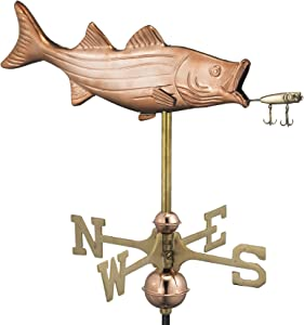 Good Directions Bass with Lure Cottage Weathervane, Includes Roof Mount, Pure Copper, Fish