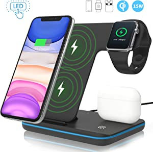 Wireless Charger,ZHIKE 3 in 1 Qi-Certified 15W Fast Charging Station for Apple iWatch Series 5/4/3/2/1,AirPods,Wireless Charging Stand for iPhone 11 Series/XS MAX/XR/XS/X/8/8 Plus/Samsung(With a plug)