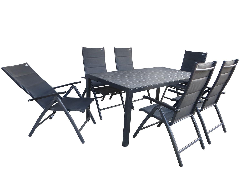 Doppler 7-teilige Luxus Gartenmöbelgruppe Salvador Padded XL, 6 mehrfach verstellbare und zusätzlich gepolsterte Klappsessel Detroit Plus anthrazit und ein Gartentisch Fire XL 180x90 anthrazit