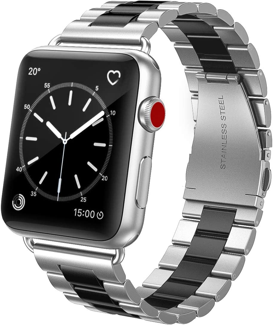 SWEES Metal Bands Compatible with Apple Watch 42mm 44mm, Upgraded Version Solid Stainless Steel Link Replacement Wristband Compatible for iWatch Series 6 5 4 3 2 1 SE Sports & Edition Men Women, Silver / Black