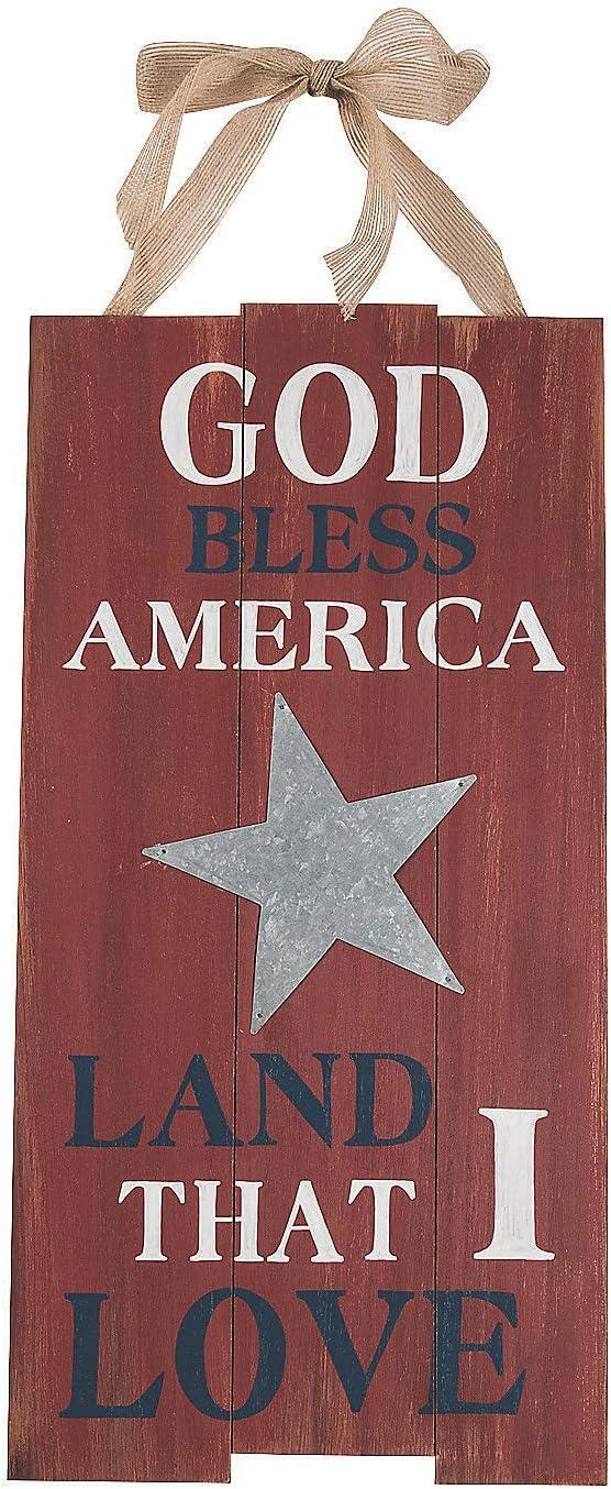 Fun Express - God Bless America Land That I Love Sign - Home Decor - Decorative Accessories - Misc Decorative Accessories - 1 Piece