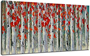 Ardemy Canvas Wall Art White Birch Tree Red Leaves Picture Painting Prints With Handpainted Embellishments, Modern Nature Woods Framed Large for Living Room Bedroom Home Office Decor 48