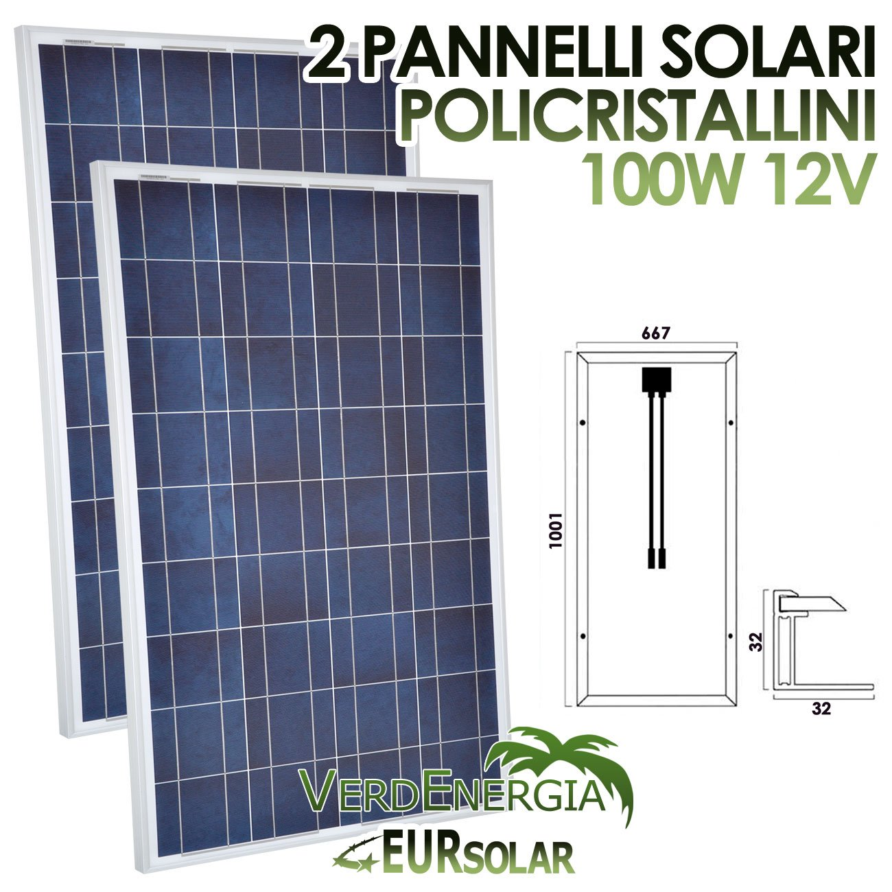 Kit von 4Solarpanel 100W Solarmodul Polykristallin 12V 4* 100W für Camper Boot Hütte eursolar