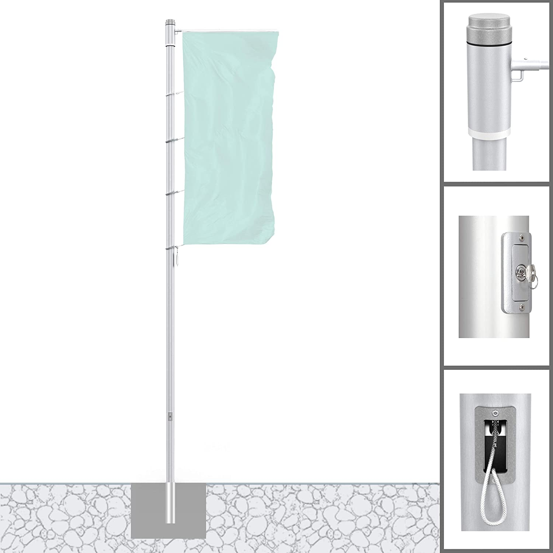 Vispronet - Mástil de aluminio para banderas, 7 m, diámetro de 100 mm, Protect Extend, brazo giratorio, sin costuras, cilíndrico, antirrobo: Amazon.es: Jardín