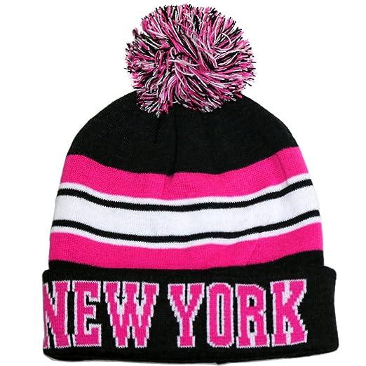 New York City Hunter USA Striped Men s Winter Hats (Black Fuschia ... d970d081d6a