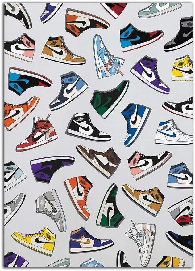 YGYT Artwork Posters Picture Michael AJ History Sneaker Air Print Nordic Fashion Jordan Shoes Painting Canvas Modular Wall Art No Frame Home Decor