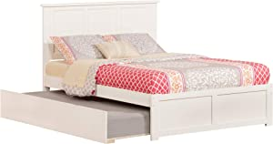 Atlantic Furniture Madison Platform Bed with Flat Panel Footboard and Twin Size Urban Trundle, Full, White