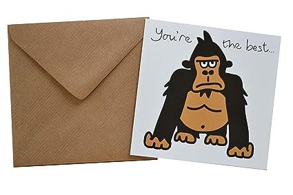 Yeah! Tarjeta de cumpleaños Gorilla. Sobre marrón a juego ...