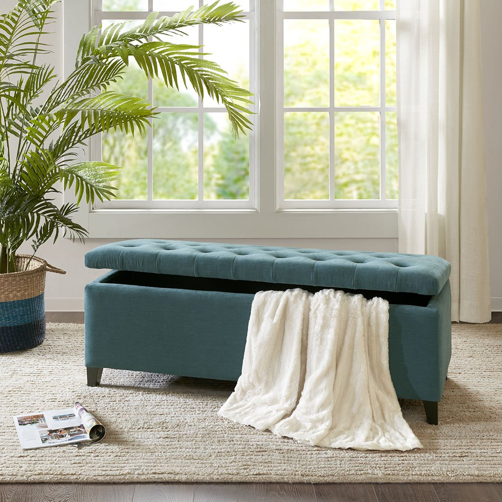 Shandra Tufted Top Storage Bench Peacock Blue See below