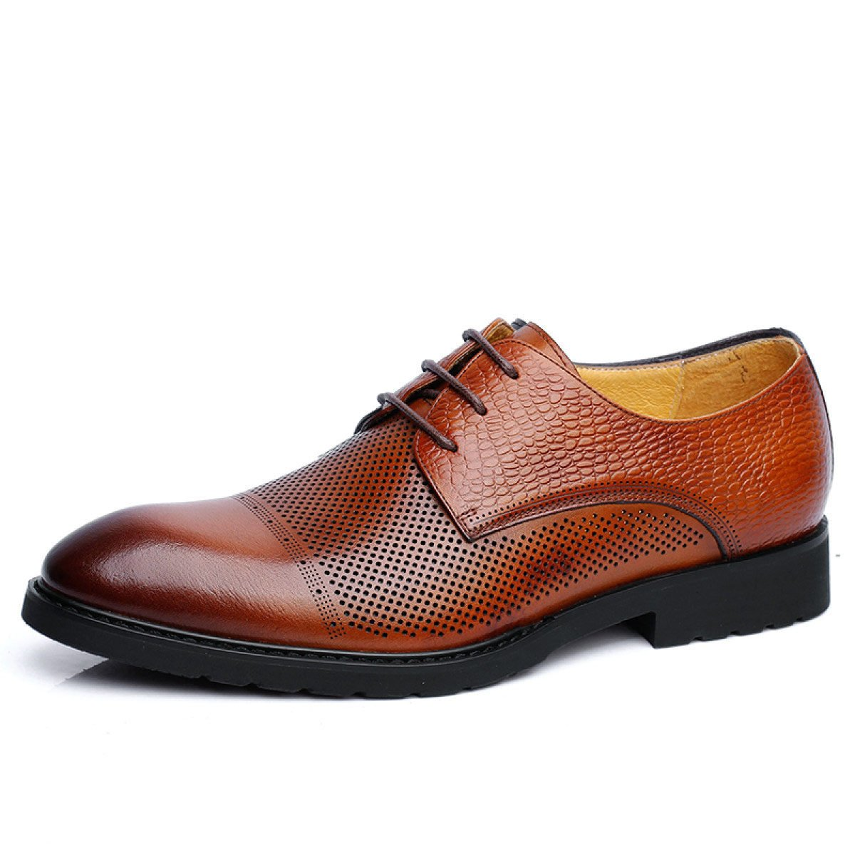 NBWE Sandalias De Negocios Para Hombres Zapatos De Vestir Huecos De Cuero Zapatos De Agujeros Transpirables 42|marrón