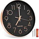 """Geekclick 12"""" Wall Clock [Battery Included], Silent & Large Wall Clocks for Living Room/Office/Home/Kitchen Decor, Modern Sty"""
