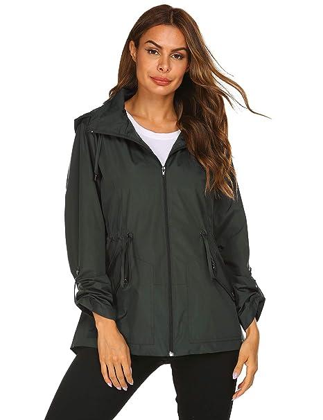 Amazon.com: Kikibell - Chaqueta impermeable con capucha para ...