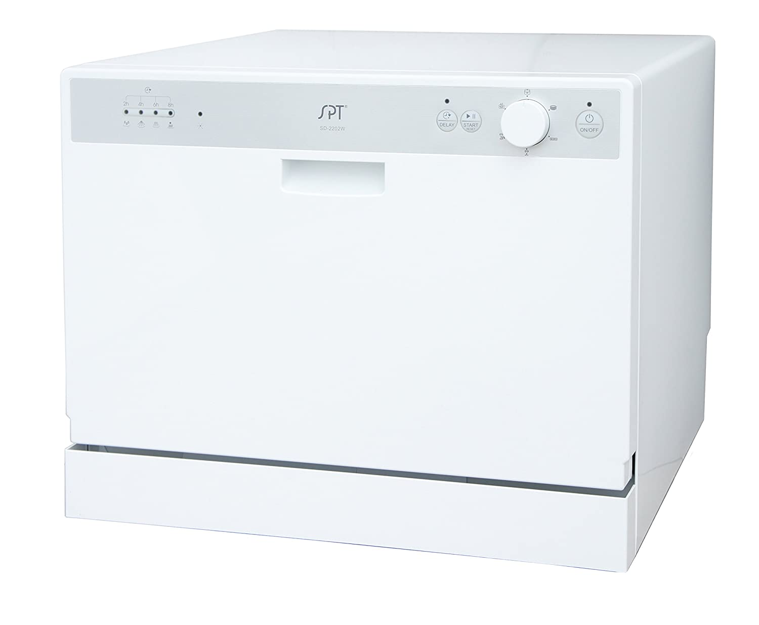 SPT SD-2202W Countertop Dishwasher with Delay Start, White Sunpentown