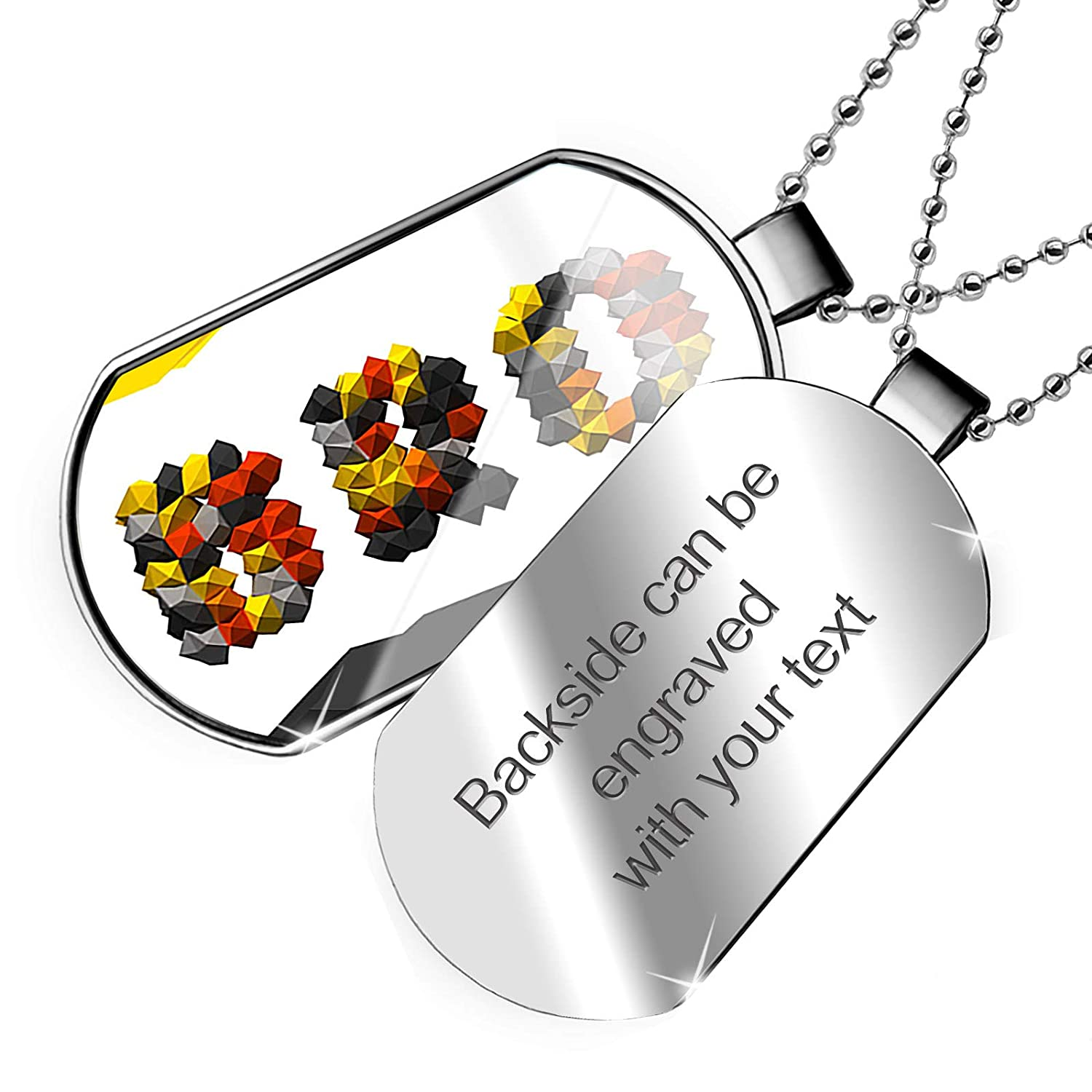 NEONBLOND Personalized Name Engraved Bro Color Geometric Shapes Dogtag Necklace