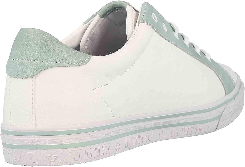 Mustang 1354-302-17, Sneakers Basses Femme Blanc Vert