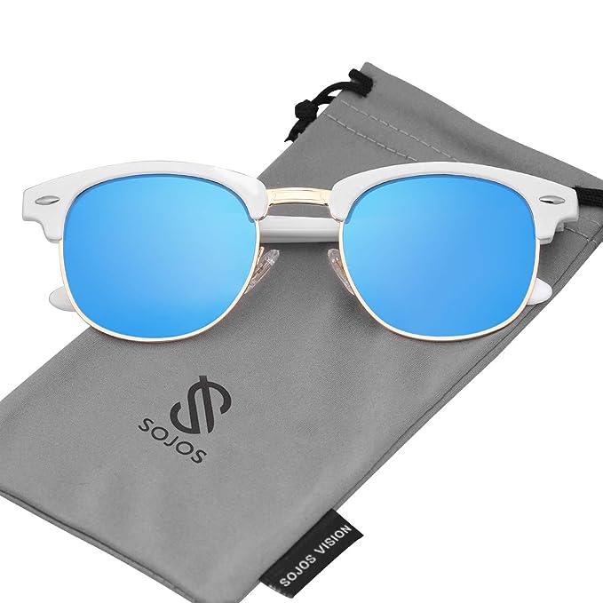 SOJOS Gafas de sol polarizadas sin montura Semi lente ...