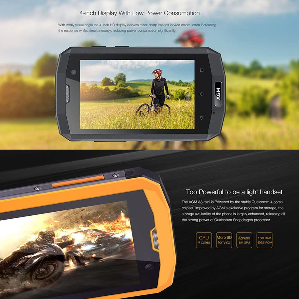 AGM A8 Mini Smartphone IP68 Qualcomm Snapdragon 210 1.1GHz Quad ...