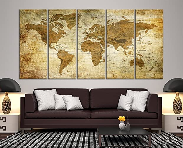 Amazon modern large wall art vintage old world map map push pin modern large wall art vintage old world map map push pin canvas print for wall decor gumiabroncs