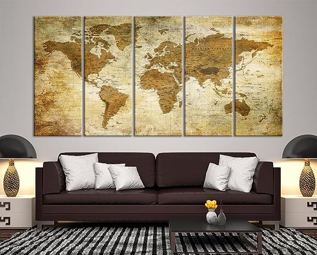 Amazon modern large wall art vintage old world map map push pin modern large wall art vintage old world map map push pin canvas print for wall decor gumiabroncs Images