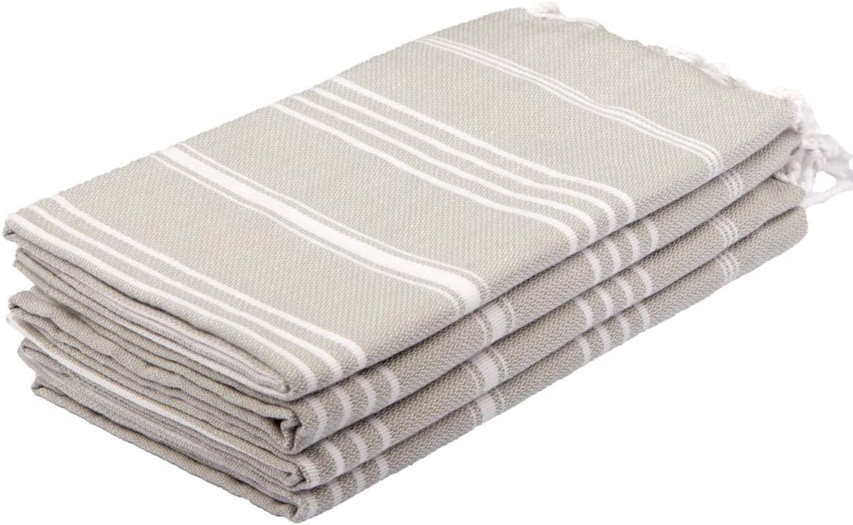 Silver grey stripe Turkish hand towels with fringe. 25 Amazing Finds Under $25 & Fun Quotes to Make You Smile!