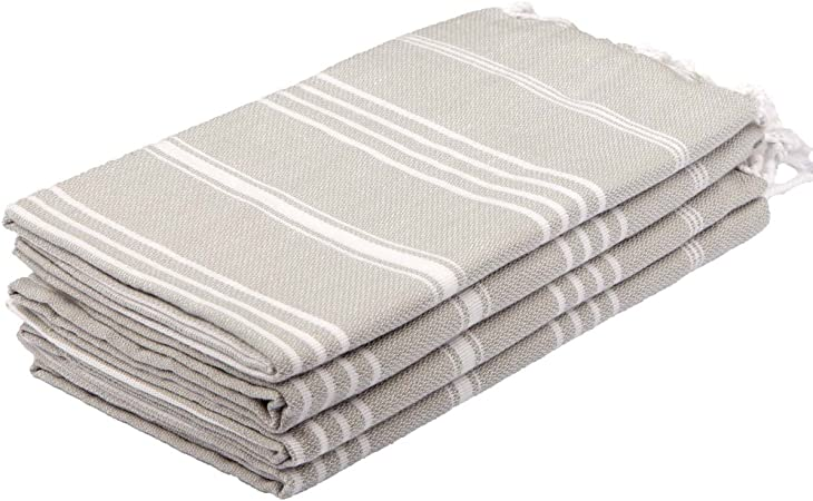 Amazon Com Clotho Towels Turkish Hand Towel Set Of 4 Silver Gray For Decorative Bathroom Kitchen Dining
