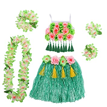 Amosfun Disfraz Hawaiana niña Falda Hula Diadema de Flores ...