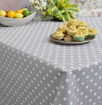 Round   Extra Wide Polka Mink Wipe Clean PVC Oilcloth Tablecloth   160cm  Diameter