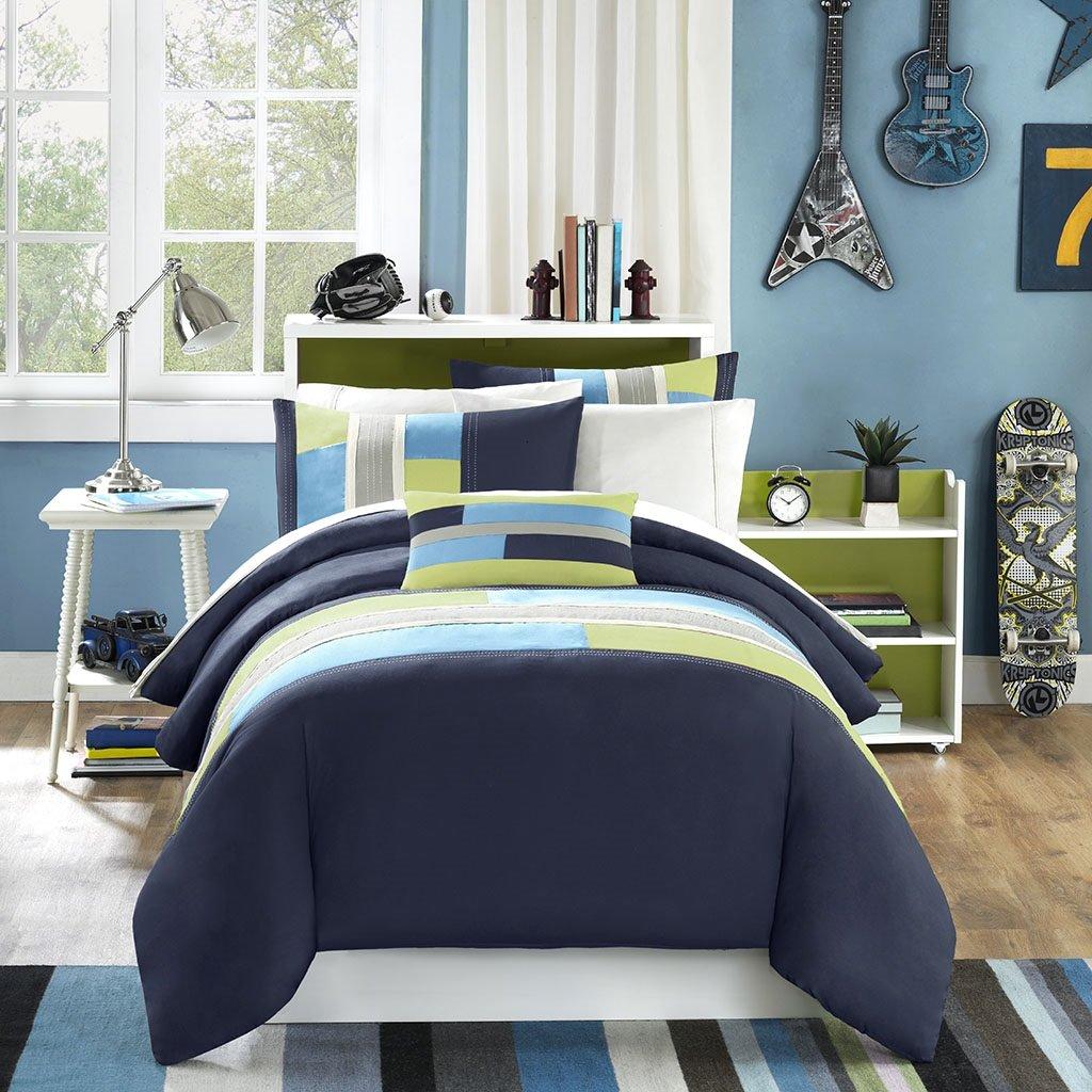 Mi-Zone Pipeline Full/Queen Duvet Cover Set Kids Boy - Navy Blue, Striped Pieced – 4 Piece Bed Set Cover – Ultra Soft Microfiber Kid Boys Bedding Set
