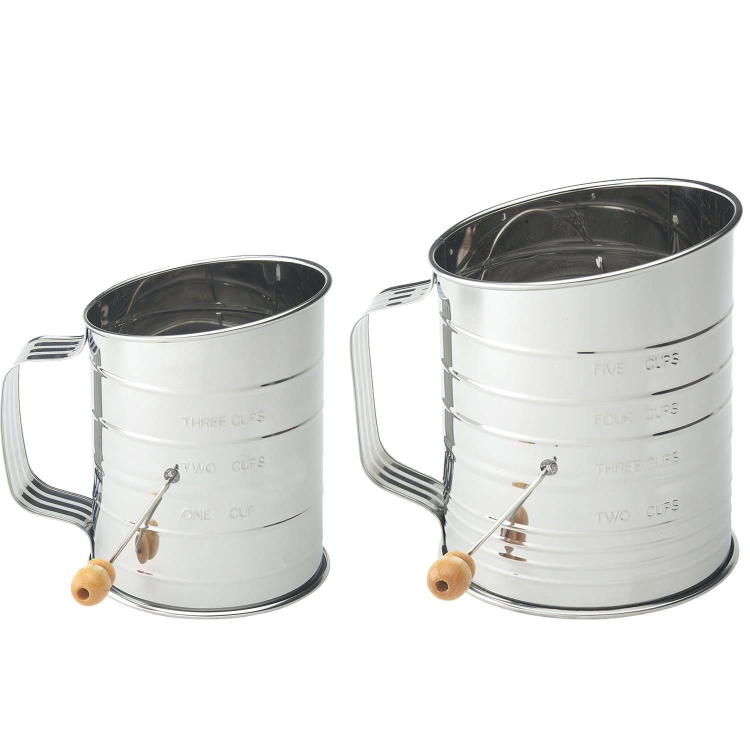 Stainless Steel Flour Sifter Hand Crank Sifters for Baking, (Set of 2) 3-Cup and 5-Cup with Amazing Mesh Screen By Mrs. Anderson's
