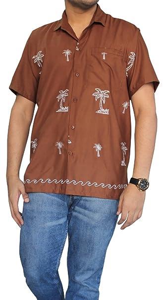 LA LEELA Casual Hawaiana Camisa para Hombre Señores Manga Corta Bolsillo Delantero Vacaciones Verano Hawaiian Shirt