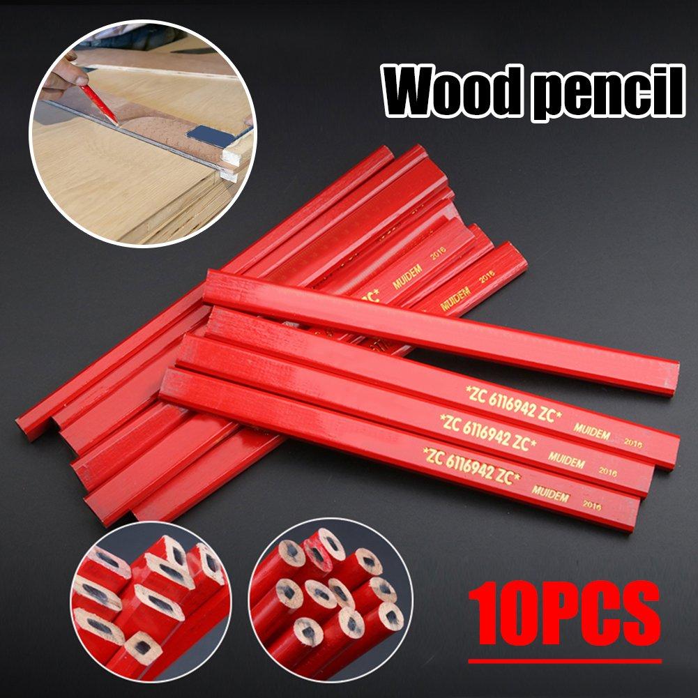 10er Zimmermann Bleistifte mit Anspitzer, Holzbearbeitung Zimmermann Bleistift Set flache weiche Blei zum Zeichnen von Linien auf Holz 7 Zoll lang/rot Yunhigh