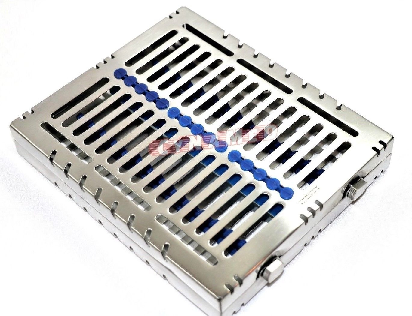 4 German Dental Autoclave Sterilization Cassette Tray for 15 Instruments 8.25X7.25X1.25'' Pink and Blue CYNAMED by CYNAMED (Image #4)