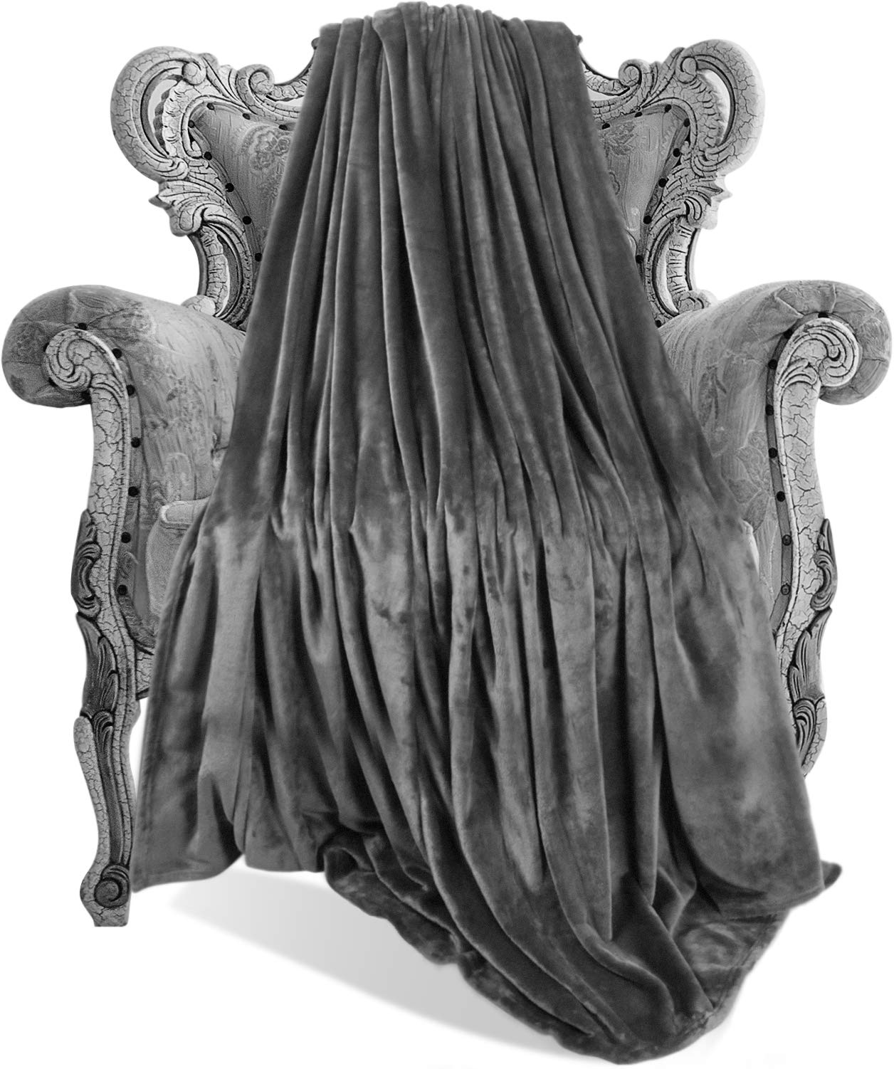 Utopia Bedding Flannel Fleece Blanket (Grey, King) Plush Microfiber Fabric- lightweight & warm Couch/Bed Blanket– Easy Care
