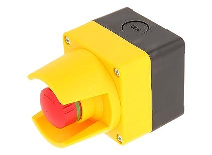 Mazo 23.001.587 botón de emergencia con protección Cuello En Caja, schaltstellungsanzeige, Negro/Amarillo: Amazon.es: Industria, empresas y ciencia